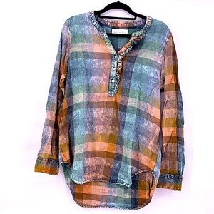 Anthropologie plaid faded shirt size medium rustic